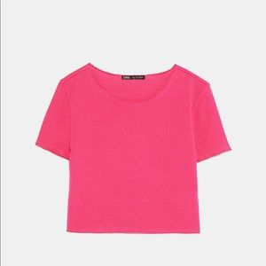 Hot Pink Cropped T-shirt
